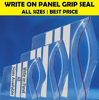 WRITE ON PANEL Strong Grip Seal Clear Plastic resealable Bags - All Sizes