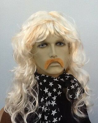 """Pirate Wig "", Blonde Long Wavy Fancy Dress Wig & Dark Blonde Droop Moustache"