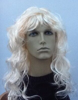 Hippy/Beatnik, 1970's Mens Long Wavy Blonde fancy Dress Wig