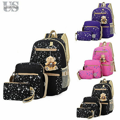 Women Backpack Girl School Satchel Shoulder Bag Rucksack Canvas Travel Bags USA