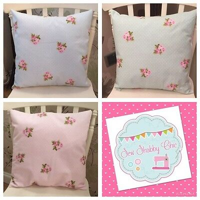 """3 Fryetts Pastel Blue Pink Mint Bouquet Floral Cushion Covers 16"""" Shabby Chic��"""