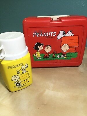 Vintage Peanuts Lunch Box And Thermos 1965 Charlie Brown Snoopy Charles Schulz