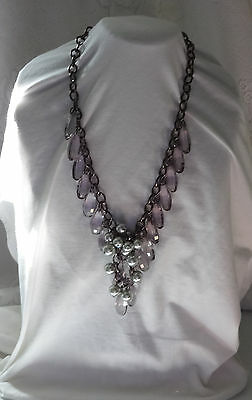Vtg Massive Chunky Runway Pearls & Plastic Faceted Beads Briolette Bib Necklace