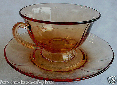 Amber Fostoria Fairfax Cup And Saucer (Chip on Cup)