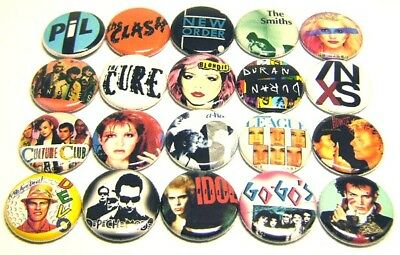 "20 1980s NEW WAVE Bands ONE Inch Buttons 1"" Badges Punk Rock DEVO PIL CLASH INXS"