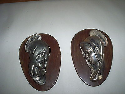 2 Metal Mary & Joseph Matching Wall Plaques Lot on Wooden Frames : A Decor Item