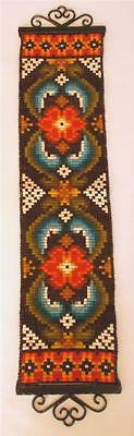 Swedish wool hand-embroidered bellpull with flowers in warm fall colors, hangers
