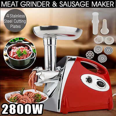 2800W Electric Steel Meat Sausage Maker Multifunctional Meat Mincer Grinder RED