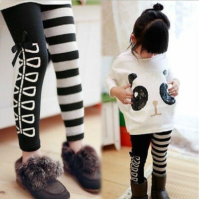 Kid Stretchy Tights Skinny Pants Girls Autumn Trousers for 3-8Y Baby Child Cute