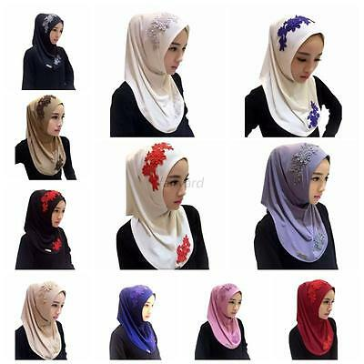 Chic Muslim Lace Embroidery Floral Caps Hijab Islamic Scarf Hats Bonnet Shawl