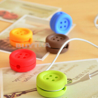 Button Cable Cord Wire Organizer Bobbin Winder Wrap For Headphone Earphone EF