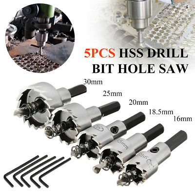 Titanium Coated 5PCs 16-30mm HSS Drill Bit Hole Saw Stainless Steel Metal Alloy