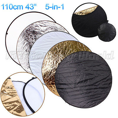 """110cm 5 in 1 Collapsible Disc Photo Studio Light Multi Reflector Panel Bag 43"""""""