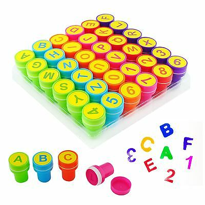 Kids 36pc Self Inking Stamp Set Learn Alphabet Letter Number Art Craft Skill Toy