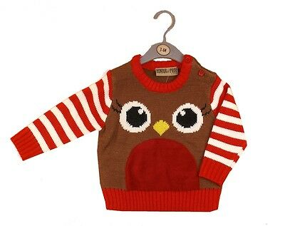 Baby Boy Girls Festive Robin Christmas Knitted Jumper Sweater by Honour & Pride