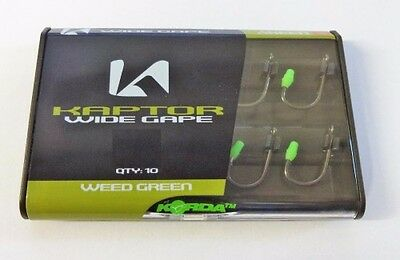 Korda Kaptor Wide Gape Barbed Carp Fishing Hooks Weed Green