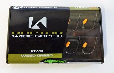 Korda Kaptor Wide Gape Barbless Carp Fishing Hooks Weed Green