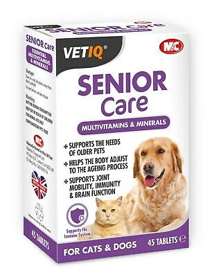 Mark & Chappell VETIQ Senior Care for Dogs & Cats 45 Tablets Joints Immune Brain