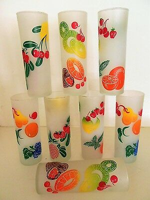 Vintage Tall Frosted Libbey Drinking Glass Set of 8, Silk Screen Fruit Graphics