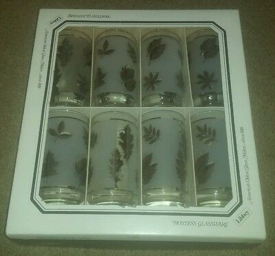 Set of 8 Glasses GLASS Libbey Silver Foliage Leaf Tumblers NEW IN BOX vintage