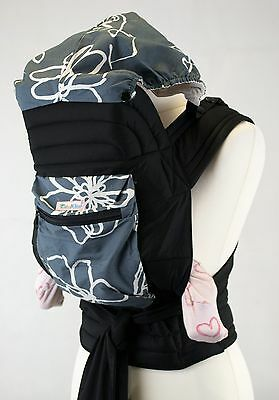 Palm and Pond Mei Tai Grey Hooded Cotton Baby Sling/Baby Carrier With Pocket