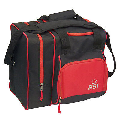 BSI Deluxe Single Bag 1 Ball Bowling Bag Black/Red
