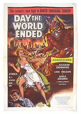 """1955 ARC Sci-Fi Roger Corman """"DAY THE WORLD ENDED"""" One Sheet Atomic Monster!!"""