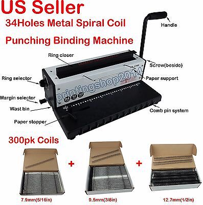 All Metal 34 Holes Spiral Coil  Punching Binding Machine+3size 300 Sheets coils