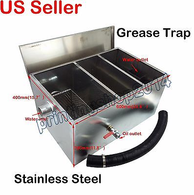 13GPM Grease Traps Restaurant Kitchen Waste Filter Stainless Steel 600x400x300mm