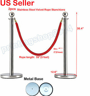 2pcs Thick Stainless Steel Velvet Rope Stanchion Pole Post Crowd Control Queue