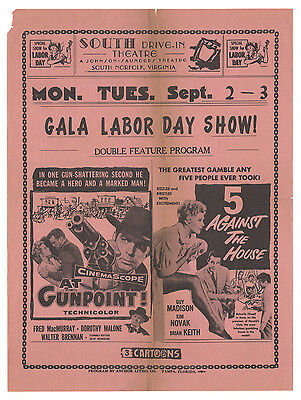 """1955 Kim Novak SOUTH DRIVE-IN THEATRE FLYER """"5 Against the House"""" S Norfolk!!"""