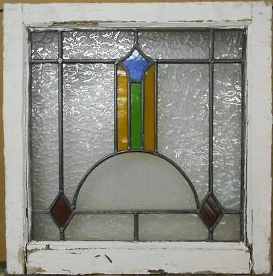 "OLD ENGLISH LEADED STAINED GLASS WINDOW Nice Abstract 20.5"" x 20.75"""