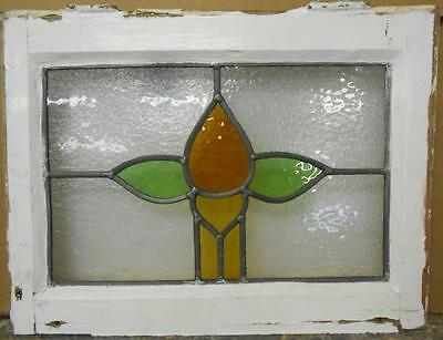 "OLD ENGLISH LEADED STAINED GLASS WINDOW Simple Floral 18.5"" x 13.75"""