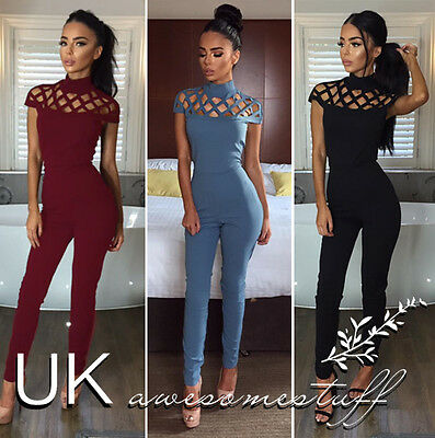 UK Womens Choker High Neck Caged Sleeve Playsuit Ladies Jumpsuit Size 6 - 18