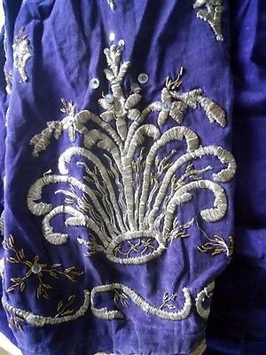 Antique ottoman silk  velvet pant   and silver metallic  embroidery 18th-century