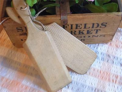 5) Vintage Pair Of Wooden Butter Pats With Ridged Detailfab Display Kitchenalia