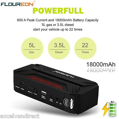 FLOUREON 18000mAh Portable Auto Jump Starter Pack Booster Chargeur Batterie LED