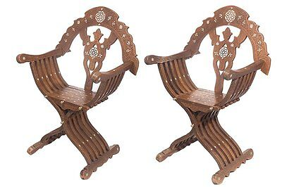 A Pair of SYRIAN INLAID HARDWOOD Chairs. Size 42 inches high x 28 3/4 inch wide