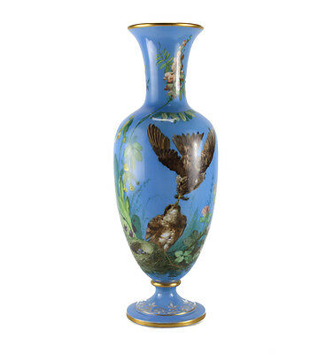 French Opaline Glass Vase Hand Painted Blue with Sparrows, c1900 Signed NW