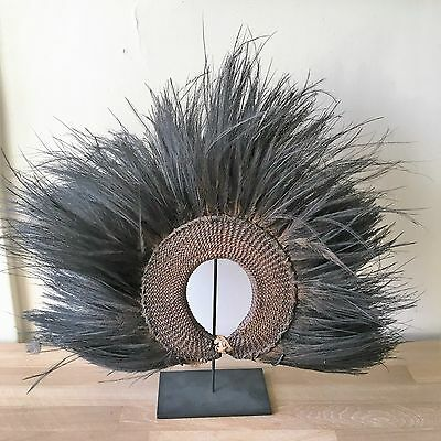Rare Authentic New Guinea Tribal Ceremonial Cassowary Feathers Headdress