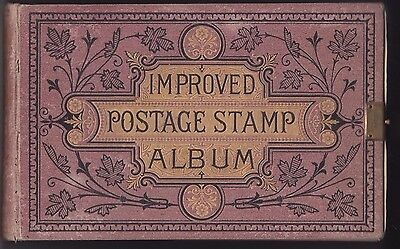 1800's IMPROVED POSTAGE STAMP ALBUM with world stamps many scarce early issues