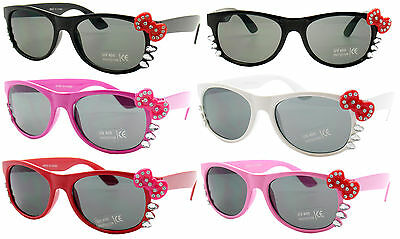 Kids Toddler Girls Iced Bling Cute Bows Kitty Cat Multi Colors Sunglasses Shades