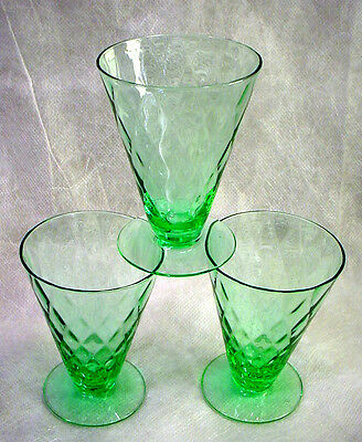 3 GREEN Depression Glass FOOTED TUMBLERS Vintage DIAMOND OPTIC Quilted ELEGANT