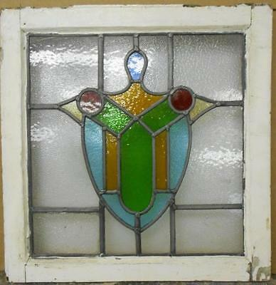 """OLD ENGLISH LEADED STAINED GLASS WINDOW Pretty Shield Design 19.5"""" x 20"""""""