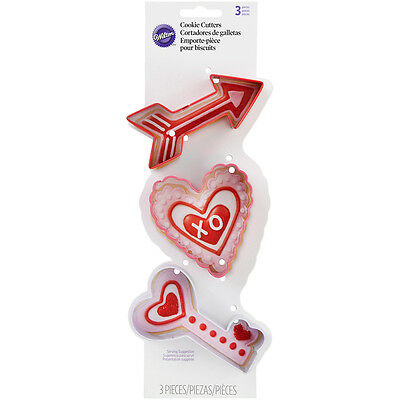 Metal Cookie Cutter Set 3pc-Arrow, Scalloped Heart And Key
