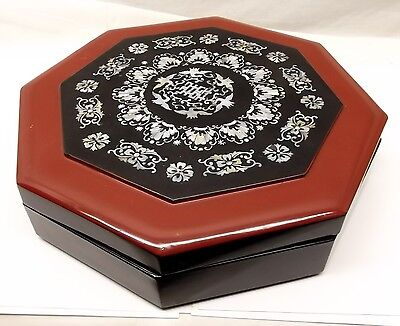 Vtg Japanese Lacquer Bento Box Abalone Shell Inlay Tray Sectional Jewelry Wood