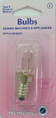 Sewing Machine & Appliance Bulb, SES Screw-In Medium, 15W, 240V, Type E