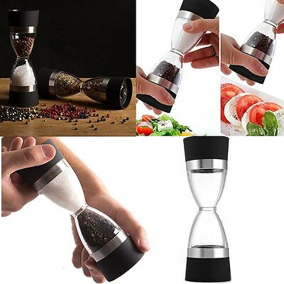 Pepper Grinder - Deluxe 2 in 1 Manual Salt and Pepper Mill Shaker Hourglass SAU