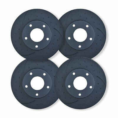 FULL SET DIMPLED SLOTTED DISC BRAKE ROTORS for Mazda RX7 FD *294mm* 1992-98