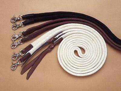 Western/stock Horse Reins - Split Reins 7 Foot With Leather  & Scissor Snap Ends